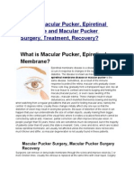 What is Macular Pucker, Epiretinal Membrane and Macular Pucker Surgery, Treatment, Recovery?