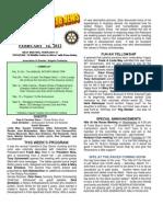 Moraga Rotary Newsletter -- FEB 14 2012