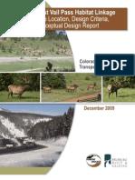 Felsburg Holt Ullevig 2009 I70 WVP Habitat Linkage Structure Location Design Criteria Conceptual Design Report