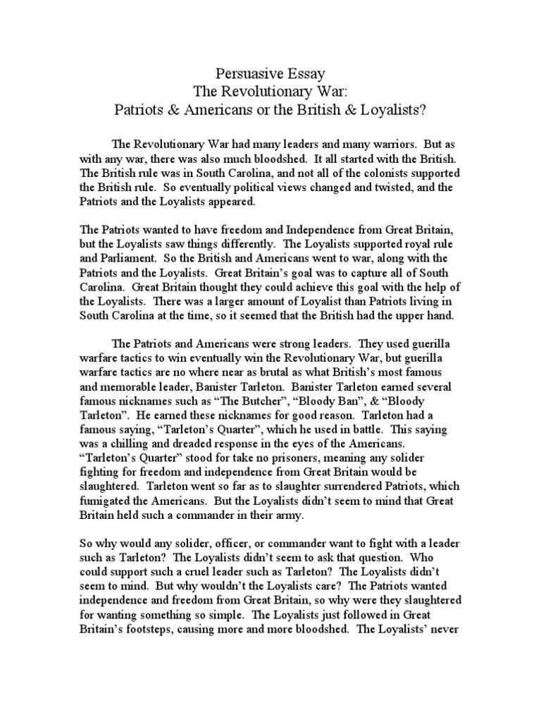 persuasive essay loyalist american revolution american persuasive essay loyalist american revolution american revolutionary war