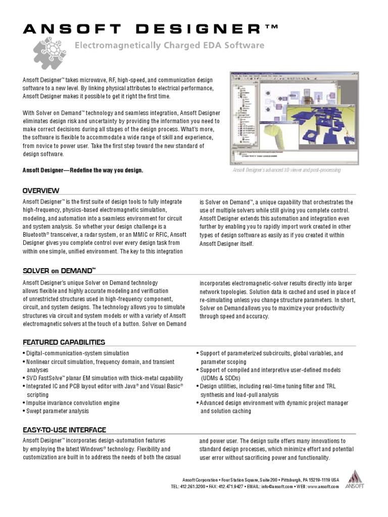 Ansoft Designer | Simulation | Spice