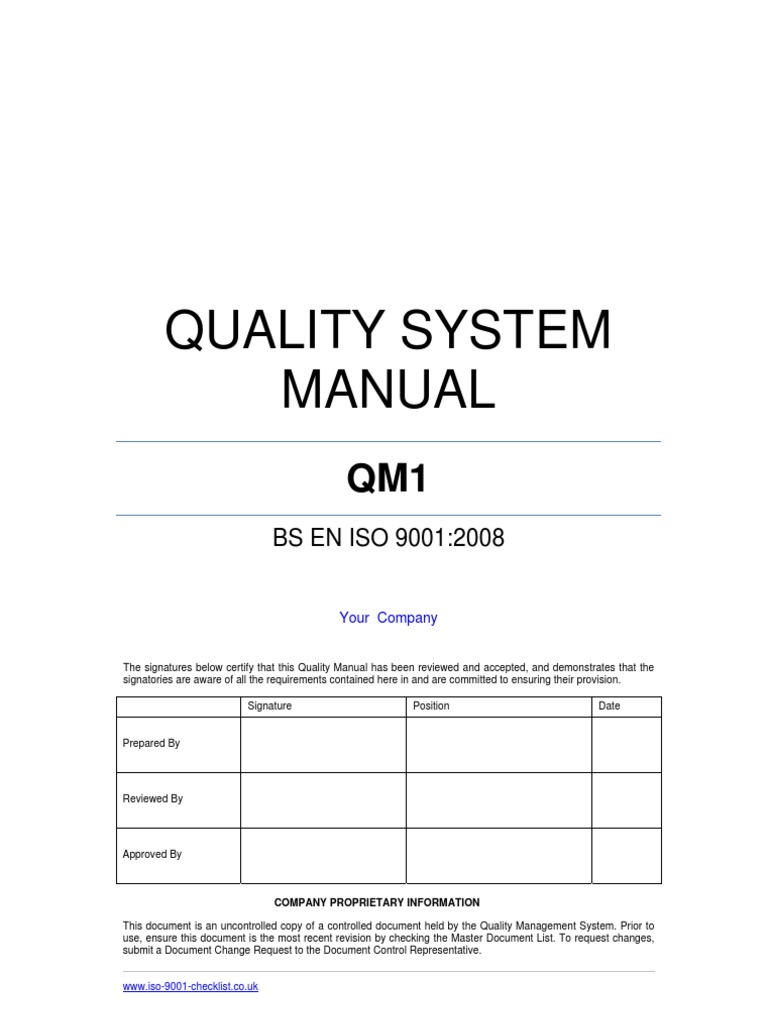 Quality Manual Template Example | Iso 9000 | Quality Management System