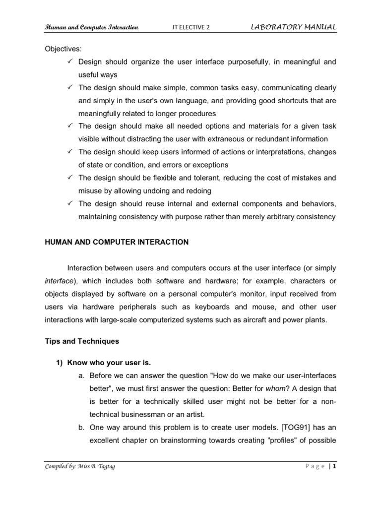 Lab Manual HCI | User Interface | Human–Computer Interaction
