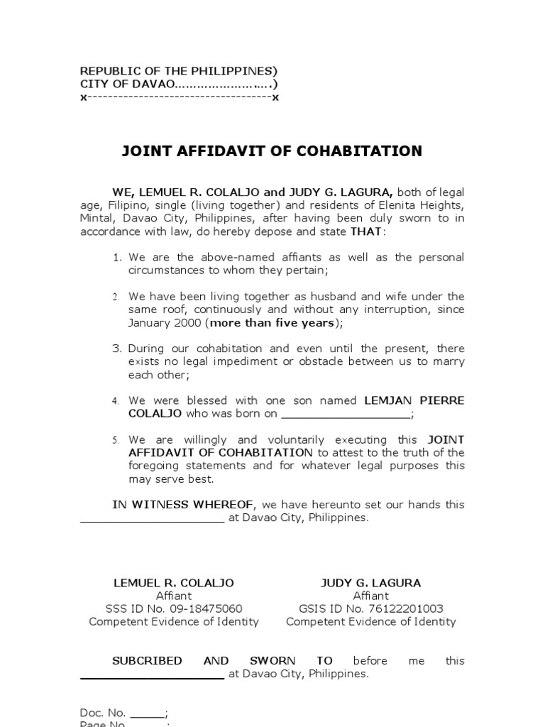 Barangay Certificate Of Cohabitation Image Gallery Hcpr