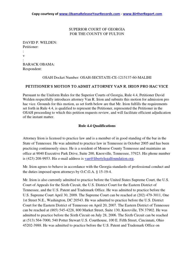 Birth certificate fulton county ga professional business letter welden v obama motion to admit attorney van irion pro hac vice 1513902897v1 welden v obama motion to admit attorney van irion pro hac vice obama ballot xflitez Choice Image