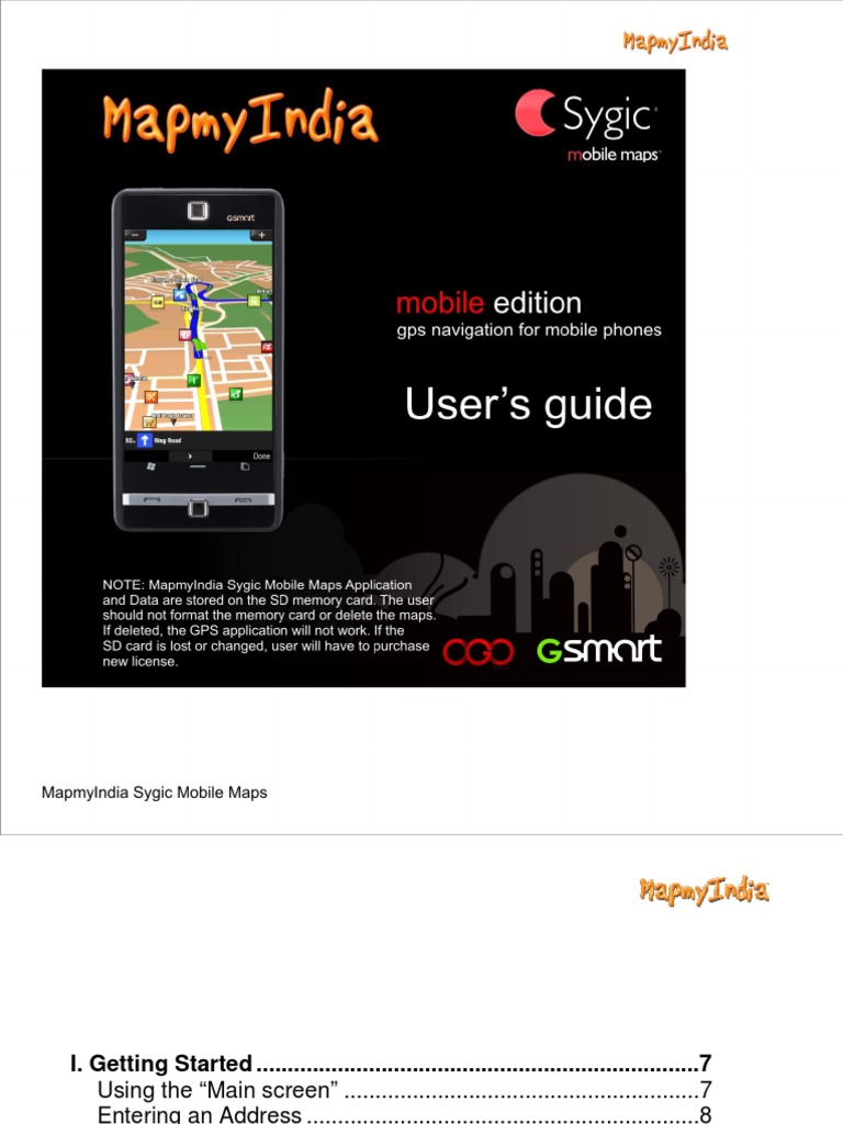 User Guide - Map My India Sygic Mobile Maps | License | Global Positioning  System