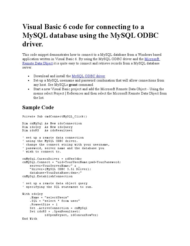 Visual Basic 6 Code for Connecting to a MySQL Database Using