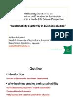 2011, NOVA Seminar, Sustainability a Gateway in Business Studies