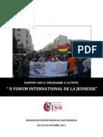 Rapport sur le programme d'activitè II Forum international de la jeuness