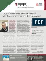 Le gouvernement a prêté une oreille attentive aux observations des employeurs, Infor FEB 6, 17 février 2012