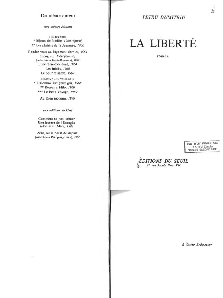 Petru Dumitru La Liberte | La nature | Politique | Essai