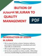 Contribution of Josph Joran