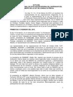 Acta Encuentro Nacional  sobre evaluación de la Ley de Consulta