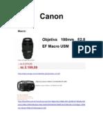 Objetivas e Acessórios - Canon