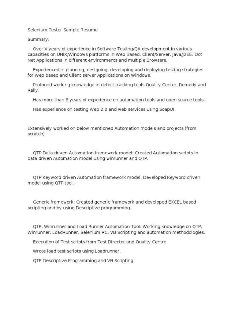 selenium tester resume testing resume entry level software tester ...