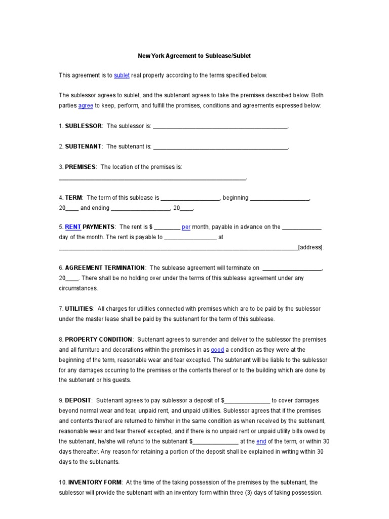 New york agreement to sublease contract law lease platinumwayz