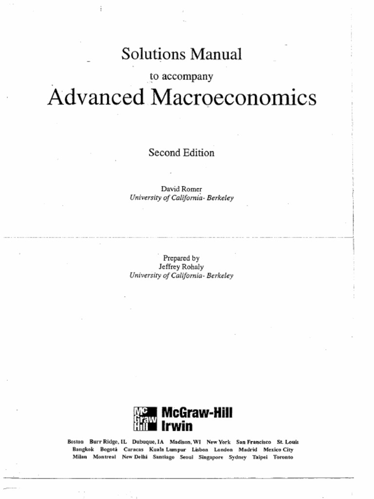 advanced macroeconomics solutions manual rh es scribd com