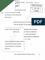 2012-02-13 TAITZ v RUEMMLER (APPEAL USDC DC)  - Taitz Motion for Extension of Time Tfb