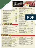 Diner Menu Giovannis
