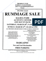 The Thursday Club Rummage Sale Flyer and Directions