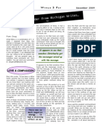 Newsletter December 2009 - A Reader From Michigan Writes