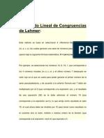 El método Lineal de Congruencias de Lehmer