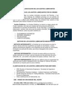 Tipos y Clasicicacion de Los Aceites Lubricantes