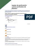 Técnica y equipo de perforación manual de pozos profundos de pequeño diámetro