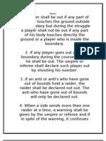 Kabaddi Rules and Measurement of Kabaddi Field