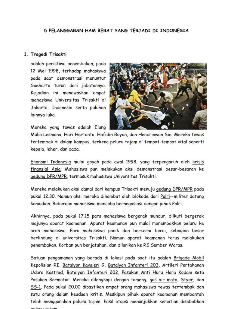 5 Pelanggaran Ham Berat Yang Terjadi Di Indonesia