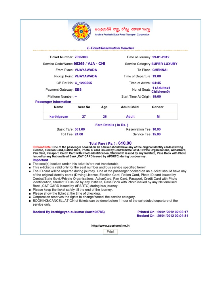Elegant Http Www.apsrtconline.in Print Ticket
