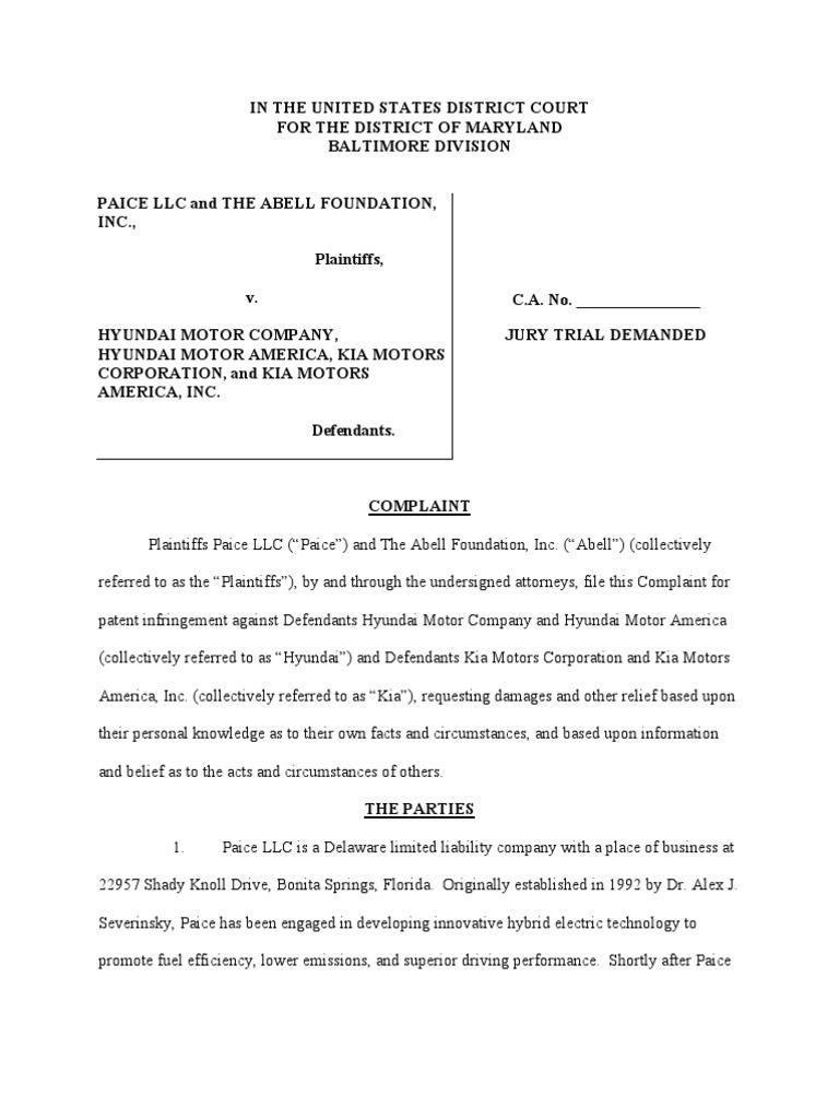 Hyundai Motor Company United States - Hyundai motor company et al patent infringement hybrid electric vehicle