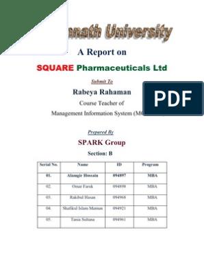 A Report on Square Pharmaceuticals Ltd | Pharmacy | Medicine