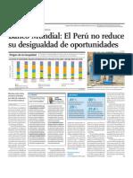 Banco Mundial, el Perú no reduce su desigualdad de oportunidades