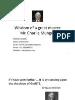 Wisdom of Charlie Munger Part 1 Jan 2012