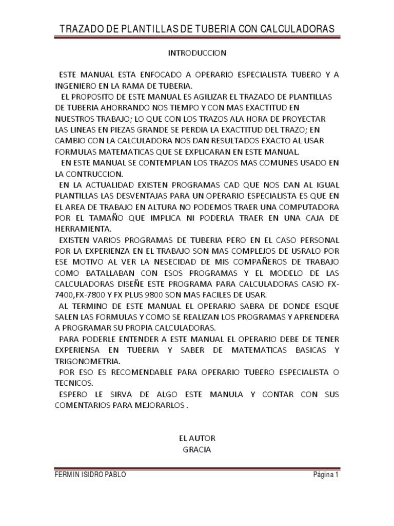 Trazado de Plan Till As de Tuberia Con Calculadoras en PDF Prueva