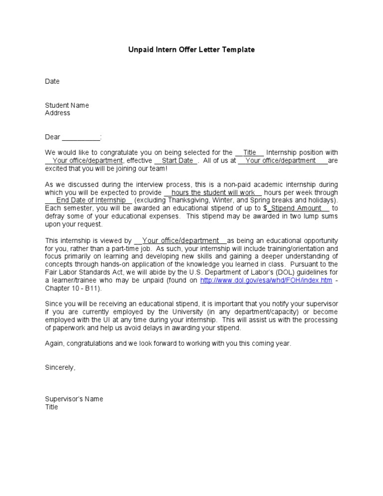 Intern Offer Letter Template - Fsla Reference