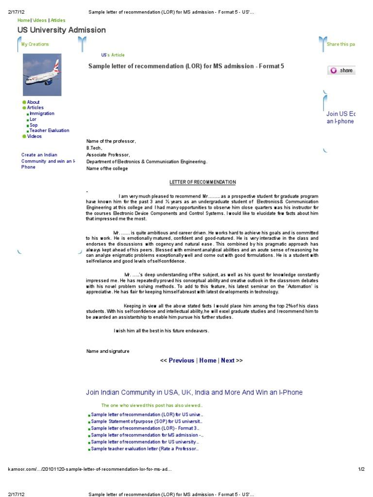 Sample Letter Of Recommendation Lor For Ms Admission Format 5