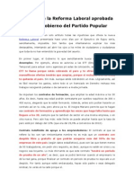 Análisis de la Reforma Laboral aprobada por el Gobierno del Partido Popular v2