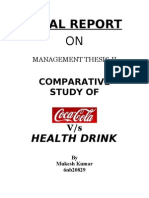 Comparitive on Cock and Health Drinks