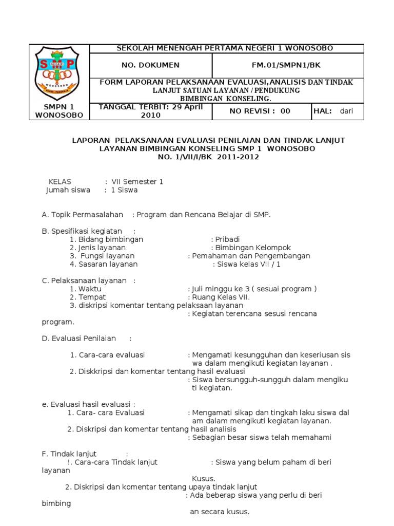 Laporan Pelaksanaan Evaluasi Penilaian Dan Tindak Lanjut Layanan