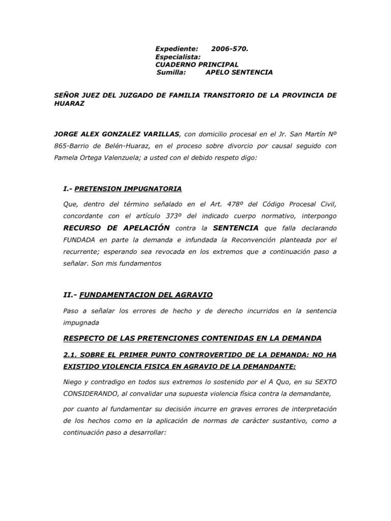 Recurso de apelaci n for Acta familiar