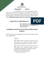 INDICAÇÃO DO PLC que reestrutura o Q.O e subsídio da PM 2011