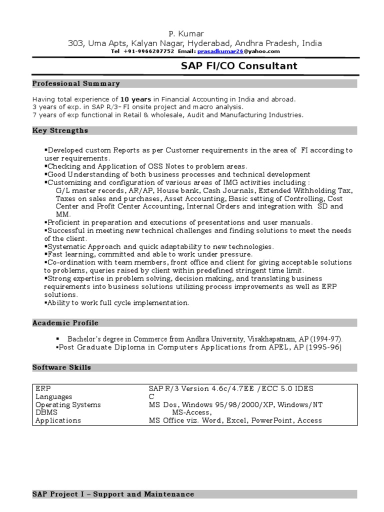 Stunning Sap Fico Resume Photos Simple Resume Office Templates