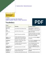 Medical Vocabulary