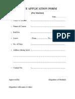 Leave Cum Stipend Application Form