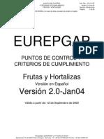 EUREPGAP Puntos de Control y Criterios de Cumplimiento de Frutas y Hortalizas