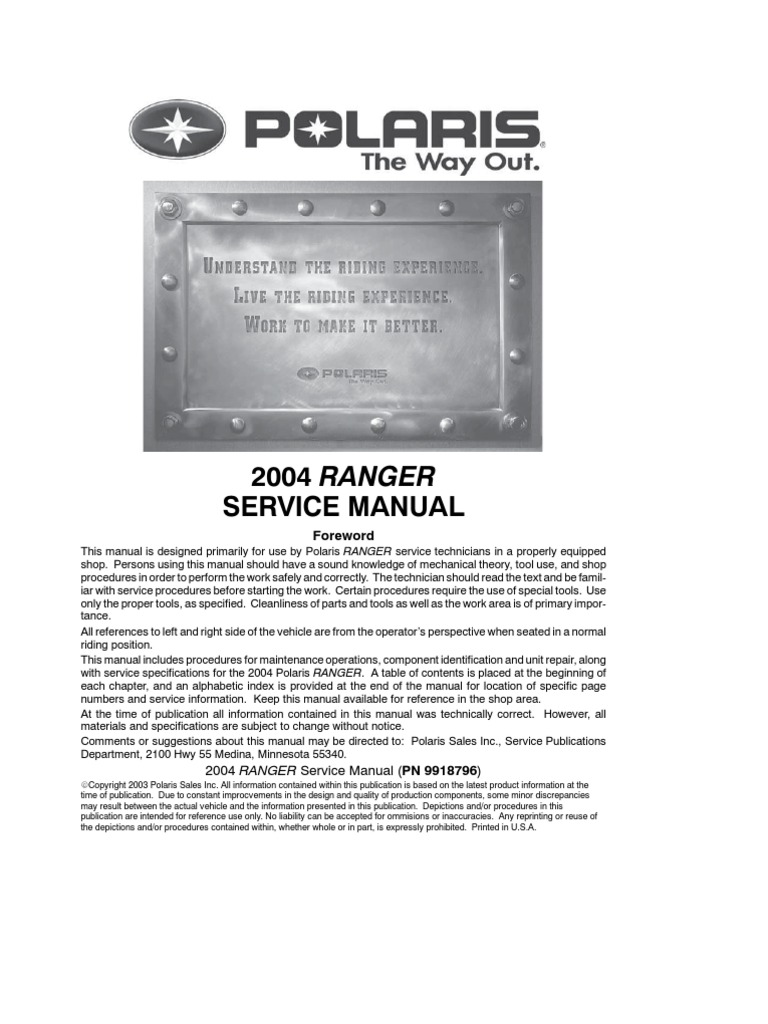 polaris technical manual carburetor transmission mechanics rh scribd com 2005 Polaris Ranger 2004 polaris ranger 500 4x4 owner's manual