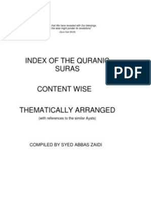 Index of the Quranic Suras content wise thematically