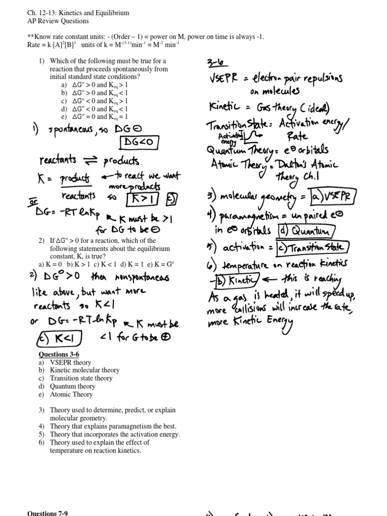 AP Ch. 12-13 Kinetics & Equilibrium Review Answers ...